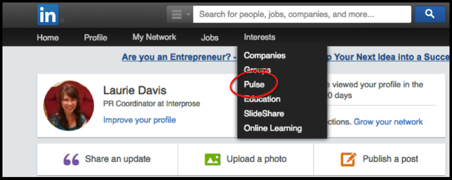 LinkedIn Pulse Dropdown