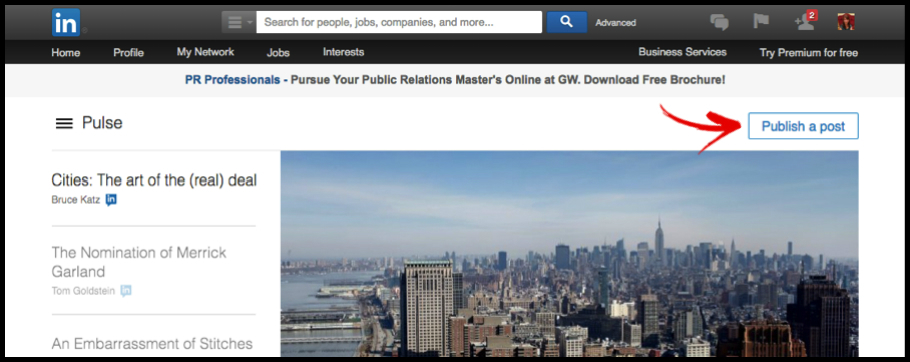 LinkedIn Pulse Home Publish Button